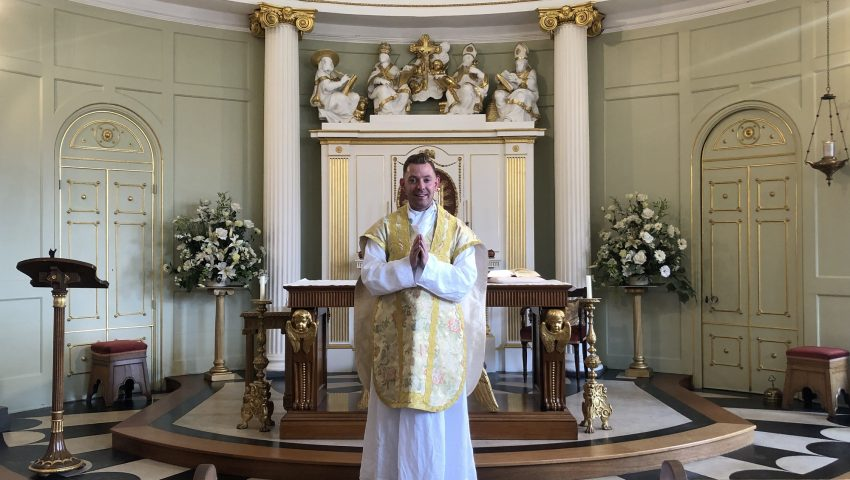Newly Ordained Father Henry O'Connell says Mass in the Bar Convent Chapel